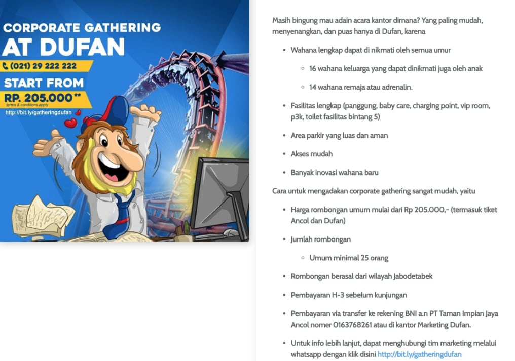 Harga Promo Ancol Corporate Gathering Dufan