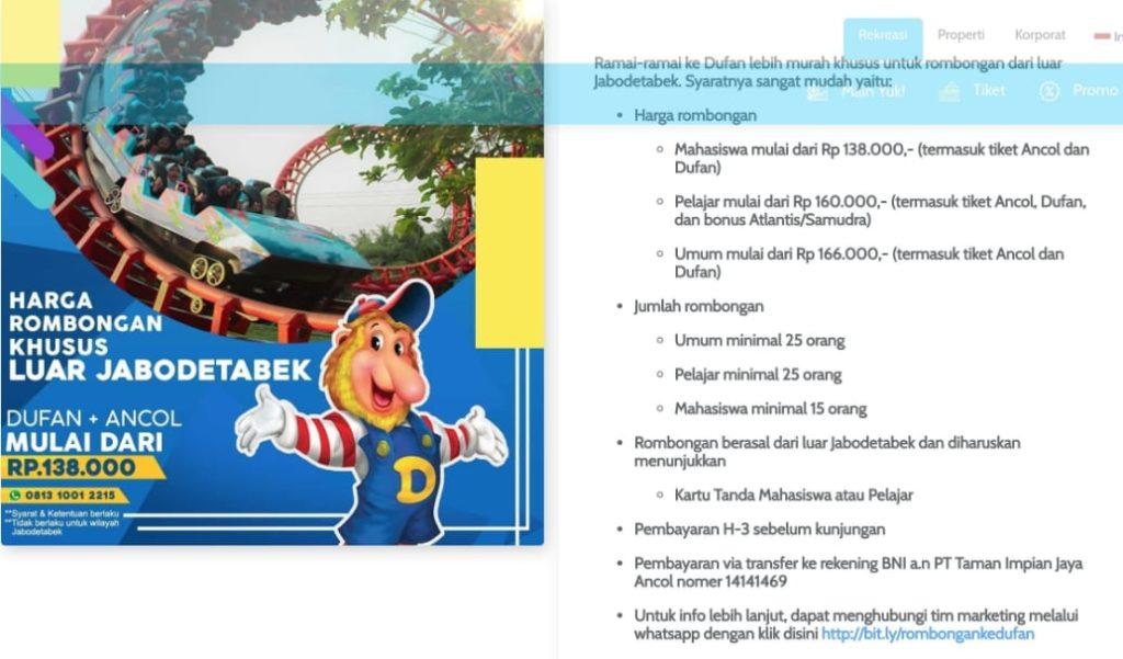 Harga Promo Ancol Rombongan Luar Jakarta