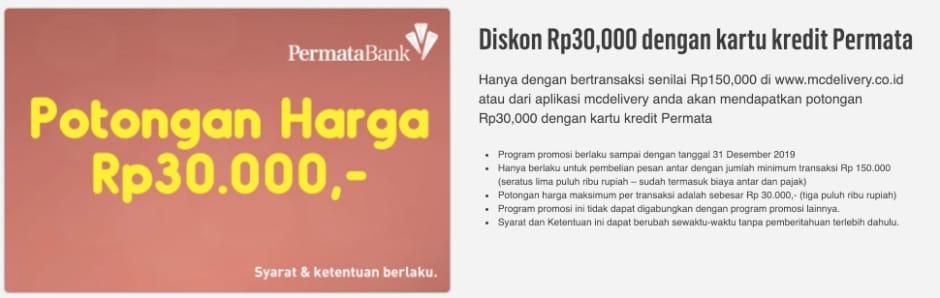 Harga Promo McD Bank Permata