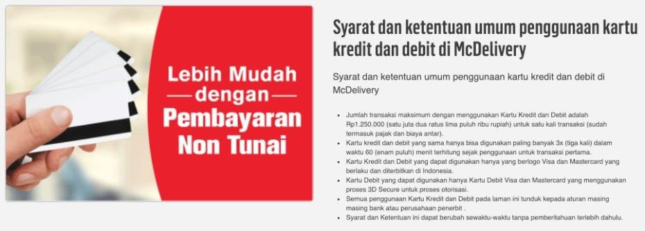 Harga Promo McD Kartu Kredit dan Debit
