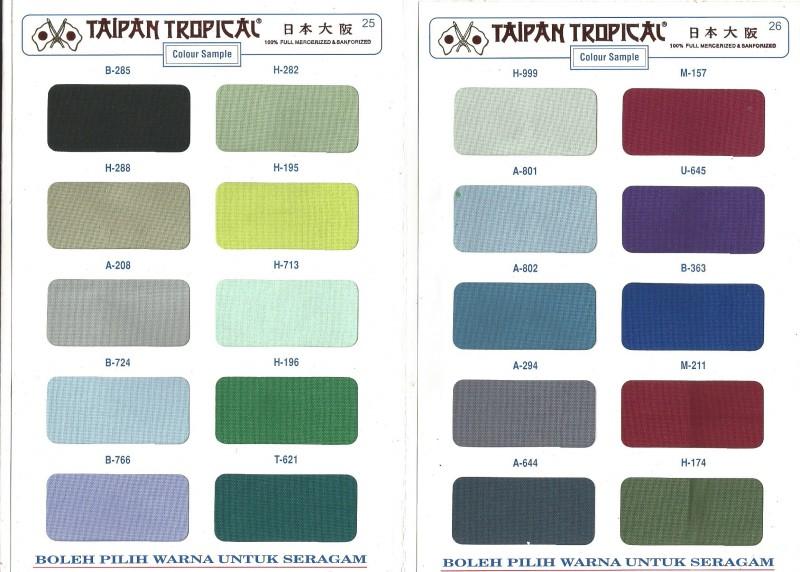Pilihan warna bahan kain taipan drill garmensurabaya.com