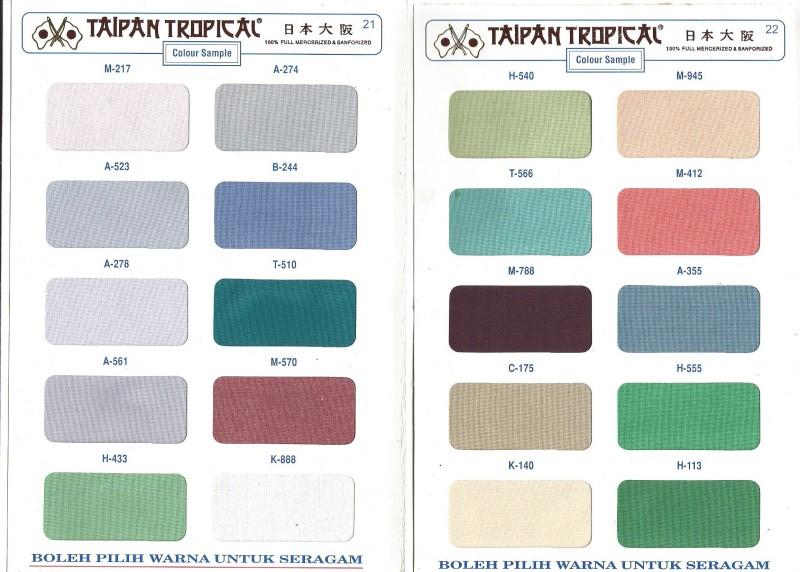 pilihan warna dan karakteristik bahan taipan tropical garmensurabaya.com